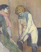Woman Pulling up her stocking (san22) Henri de toulouse-lautrec